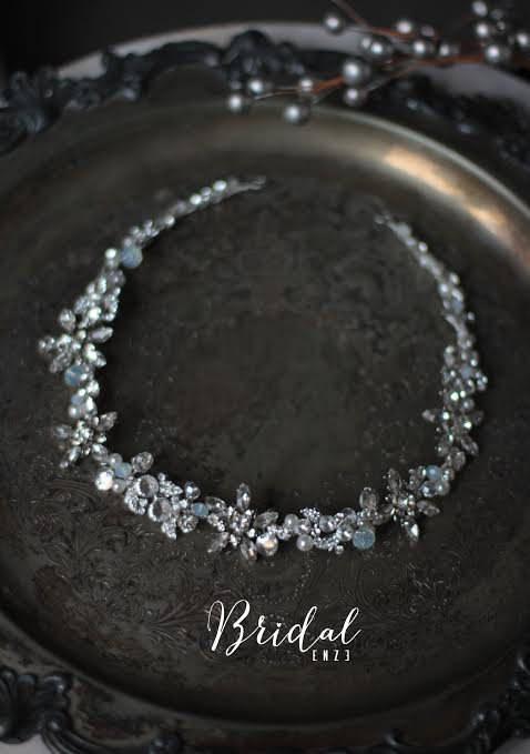 زفاف - Wedding Opal Hair Vine Hair Piece Crystal Halo Opal Halo Bridal Rhinestone Headpiece Bride Light Blue Crystal Headband Clarkson Band HV-001