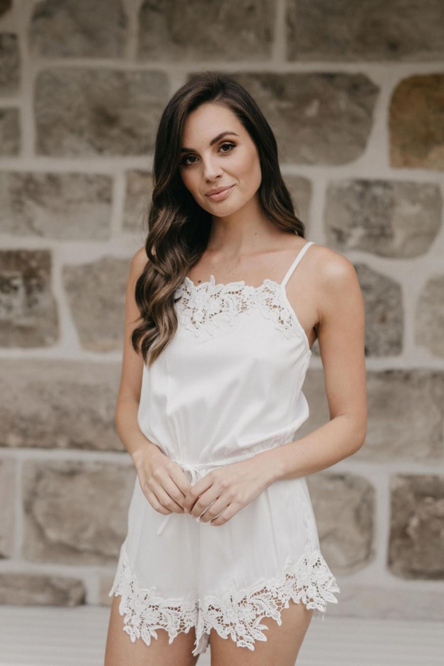 Hochzeit - Satin Playsuit / Lace Bridal Robe / Bridesmaid Robes / Robe / Bridal Robe / Bride Robe / Bridal Party Robes / ALAINA