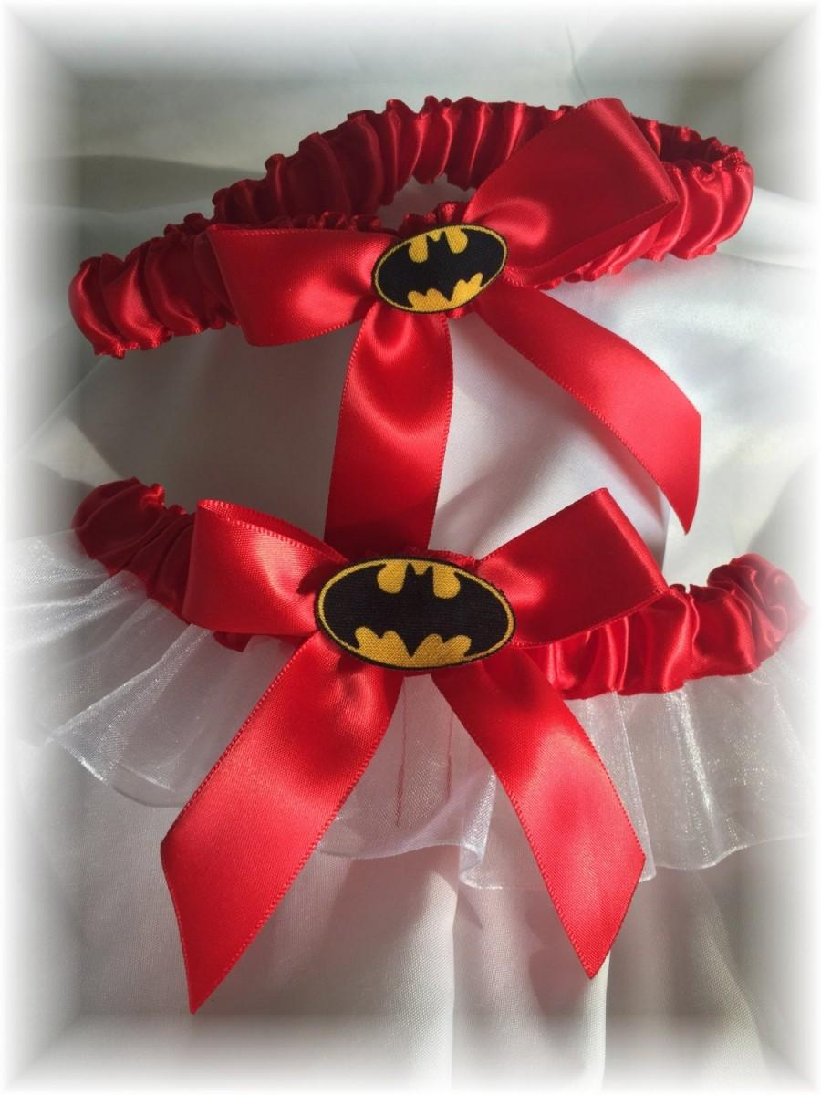 Mariage - Batman Wedding Bridal Garter- Red