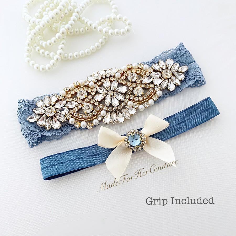 Mariage - garters for wedding, wedding garter, gold garter, antique blue garter, garter set gold, bridal garter, wedding garter set, blue garter