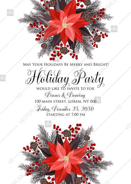 Poinsettia Fir Winter Merry Christmas Party Invitation Card