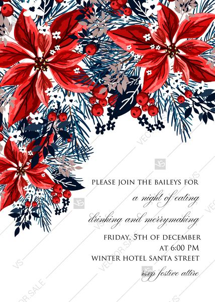 Mariage - Christmas party invitation red poinsettia winter flower berry fir floral wreath PDF 5x7 in online editor