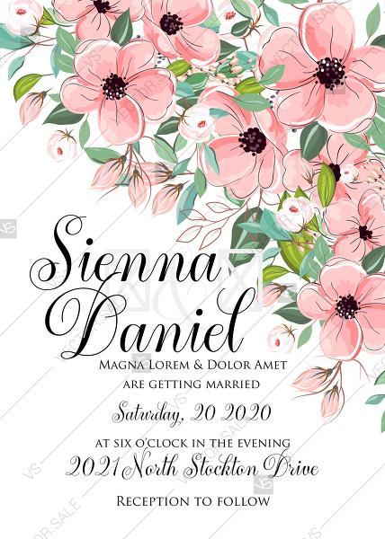 Свадьба - Pink anemone wedding invitation floral poppy greenery PDF 5x7 in PDF download