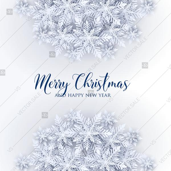 Свадьба - Merry Christmas party invitation white origami paper cut snowflake PDF 5.25x5.25 in customizable template