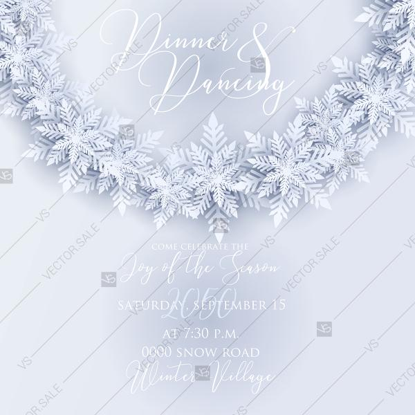Wedding - Merry Christmas party invitation white origami paper cut snowflake PDF 5.25x5.25 in