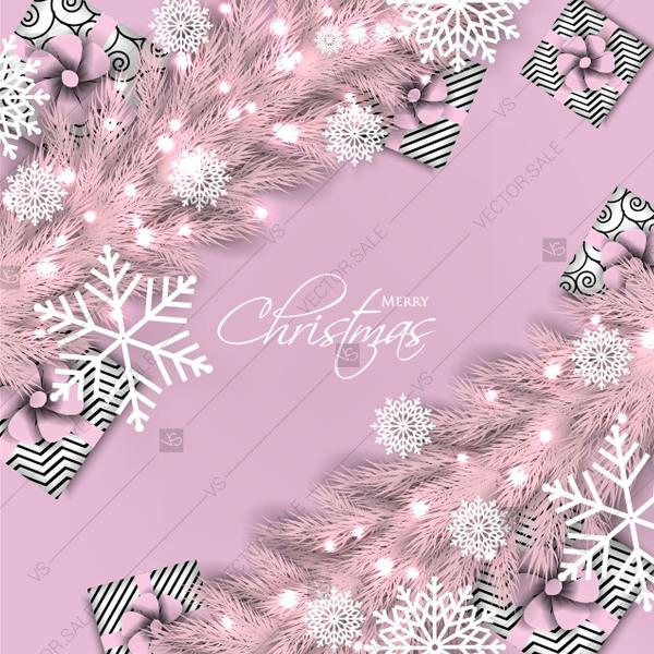 Wedding - Merry Christmas greeting card pink fir tree branch gift box snowflake valentine mothers day card