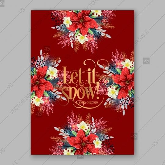 Mariage - Merry Christmas Party Invitation Poinsettia on brightly red background save the date
