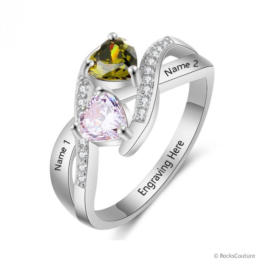 Wedding - Personalized Promise Ring For Her with 2 Names, 2 Birthstones, and 1 Phrase