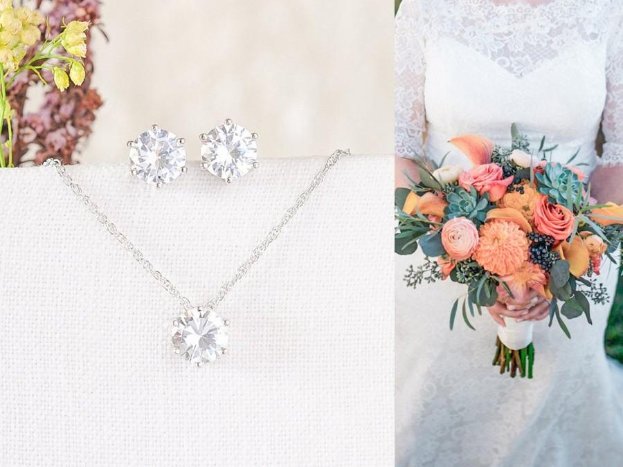 Hochzeit - Bridesmaid Jewelry SET, Rose Gold, Silver, Bridesmaid Earrings, Bridal Earrings, Crystal Studs, Wedding Necklace, Pendant Necklace, BETTY
