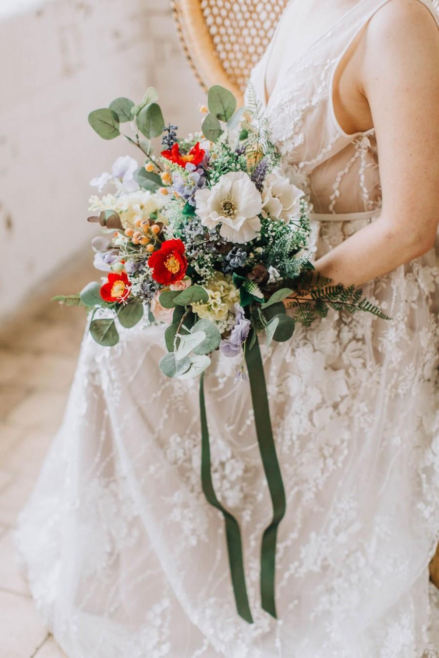 Mariage - wildflower bouquet, Vibrant Bridal Bouquet, Colourful Wedding Bouquet, Large Bouquet, freeform wild flowers