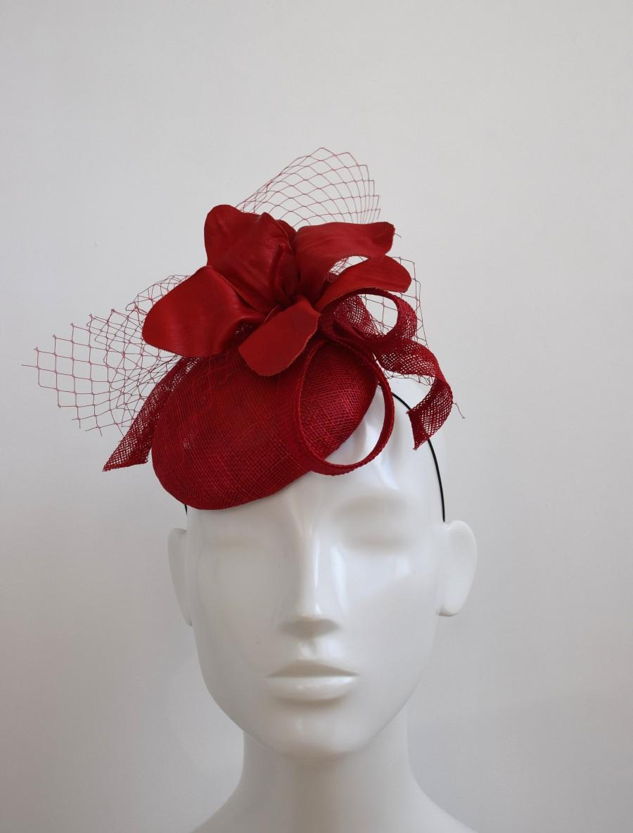 Wedding - Cherry Red Wedding Hat - Red Fascinator -  Red leather Hat -  Red Pillbox Hat - Cocktail Hat - Wedding Fascinator - Red Races Hat - Scarlet