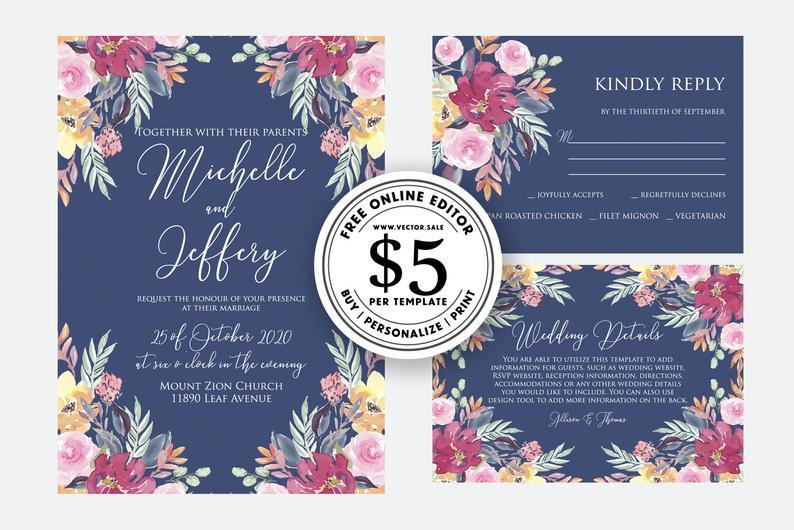 Wedding Invitation Watercolor Blush Pink Marsala Rose Peony Navy Blue Background Card Template Free Editable Online Usd 5 00 On Vector Sale 2951592 Weddbook