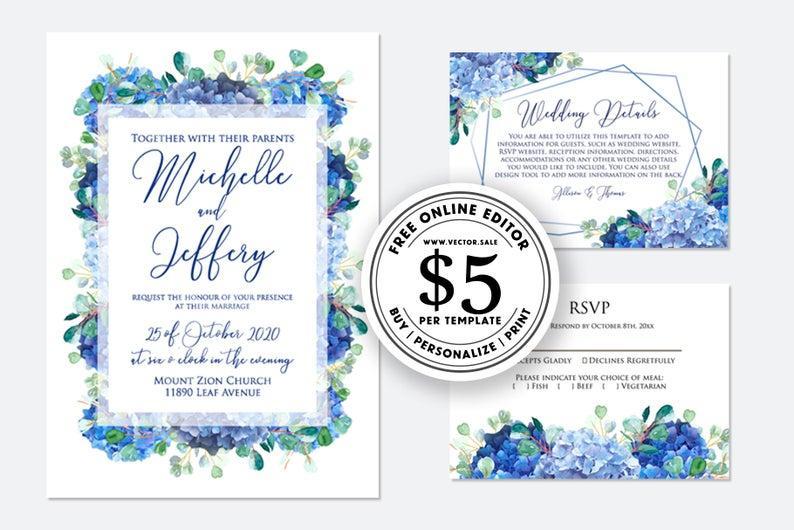 زفاف - Wedding invitation blue hydrangea greenery digital card template free editable online on VECTOR.SALE