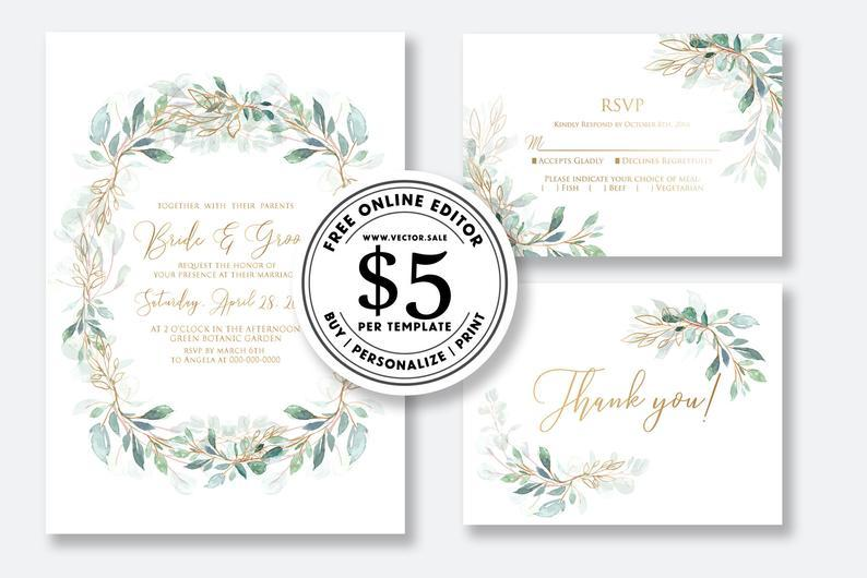 Wedding Invitation Set Watercolor Floral Herbal Greenery