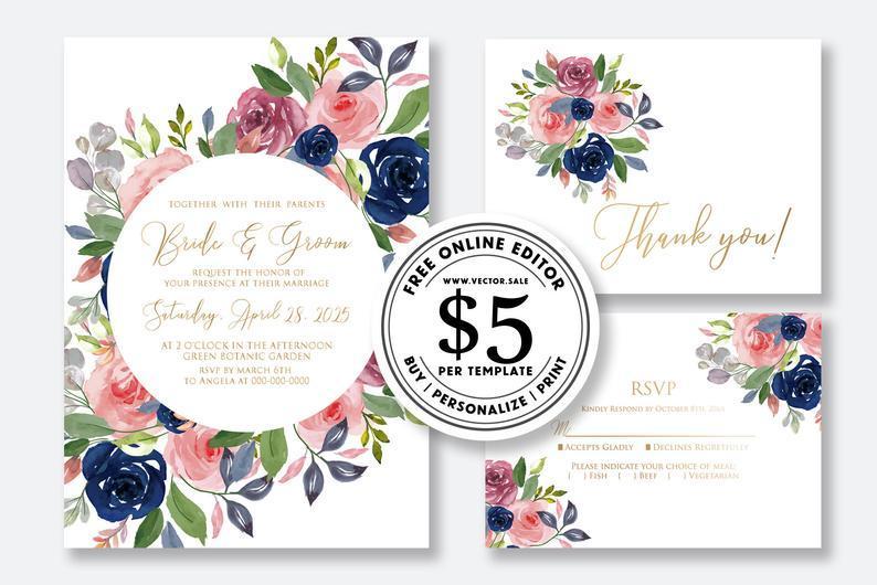 Wedding - Wedding Invitation set watercolor floral rose pink peony greenery marsala navy blue card template editable online USD 5.00 on VECTOR.SALE