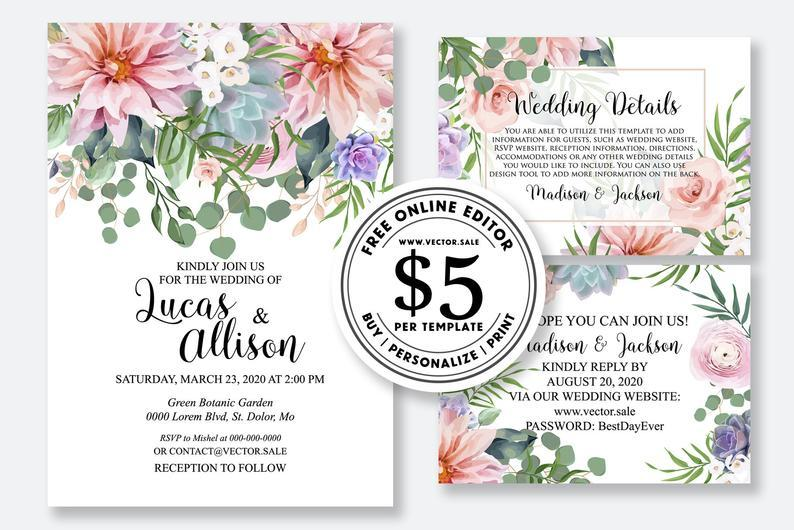 Wedding Invitation Set Blush Peony Dahlia Chrysanthemum