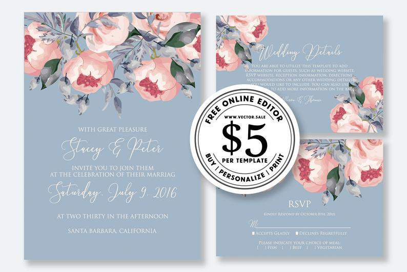 Hochzeit - Wedding Invitation set blush pink peony on blue background greenery digital card template free editable online USD 5.00 on VECTOR.SALE