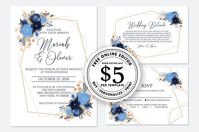 Mariage - Wedding invitation watercolor navy blue rose peony eucalyptus greenery digital card template free editable online USD 5.00 on VECTOR.SALE