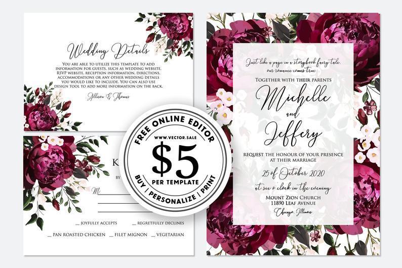 Свадьба - Wedding Invitation set watercolor burgundy marsala peony rose pink greenery digital card template free editable online USD 5.00 VECTOR.SALE