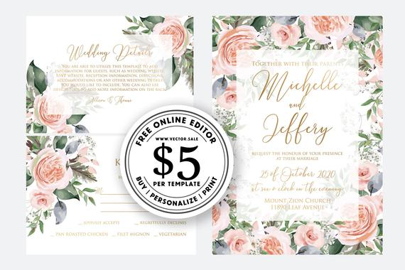 Свадьба - Wedding Invitation set watercolor blush pink peony rose greenery digital card template free editable online USD 5.00 on VECTOR.SALE