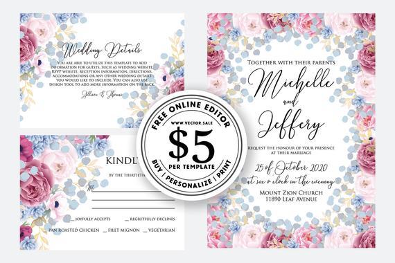 Свадьба - Wedding Invitation set watercolor pink marsala peony blue hydrangea greenery digital card template free editable online USD 5.00 VECTOR.SALE