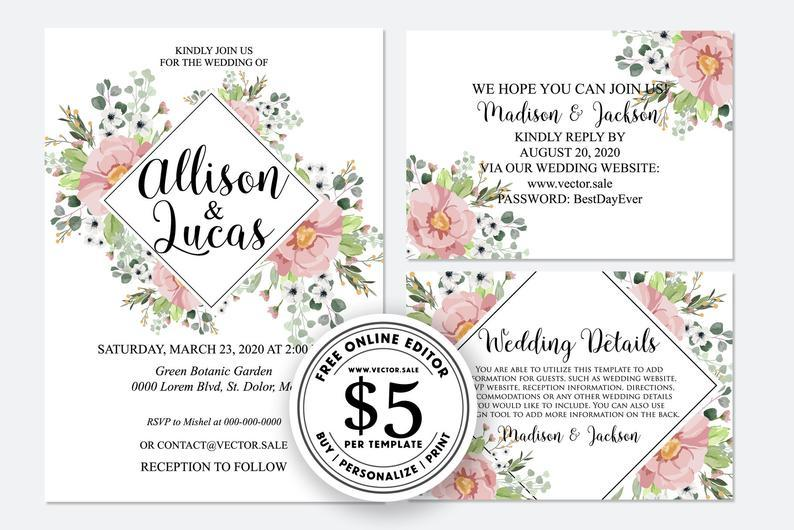 Hochzeit - Wedding Invitation set greenery and pink anemone rose peony navy blue background card template free editable online USD 5.00 on VECTOR.SALE