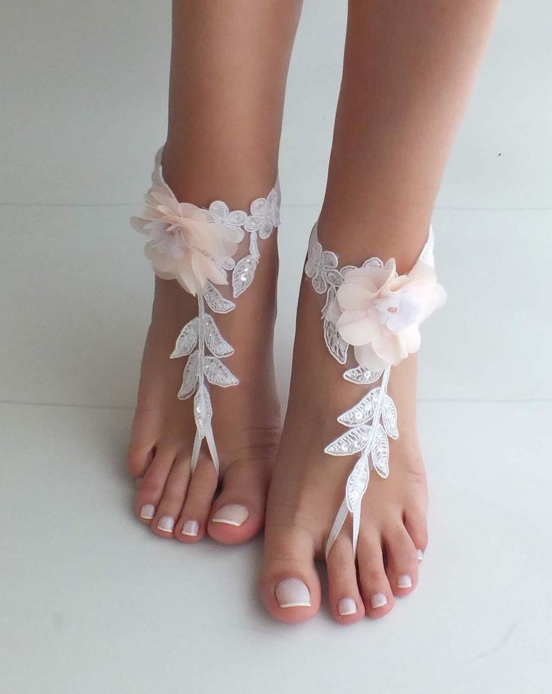 زفاف - boho bride shoes Beach wedding barefoot sandals blush flowers wedding shoes beach shoes bangle beach anklets bride bridesmaids gift