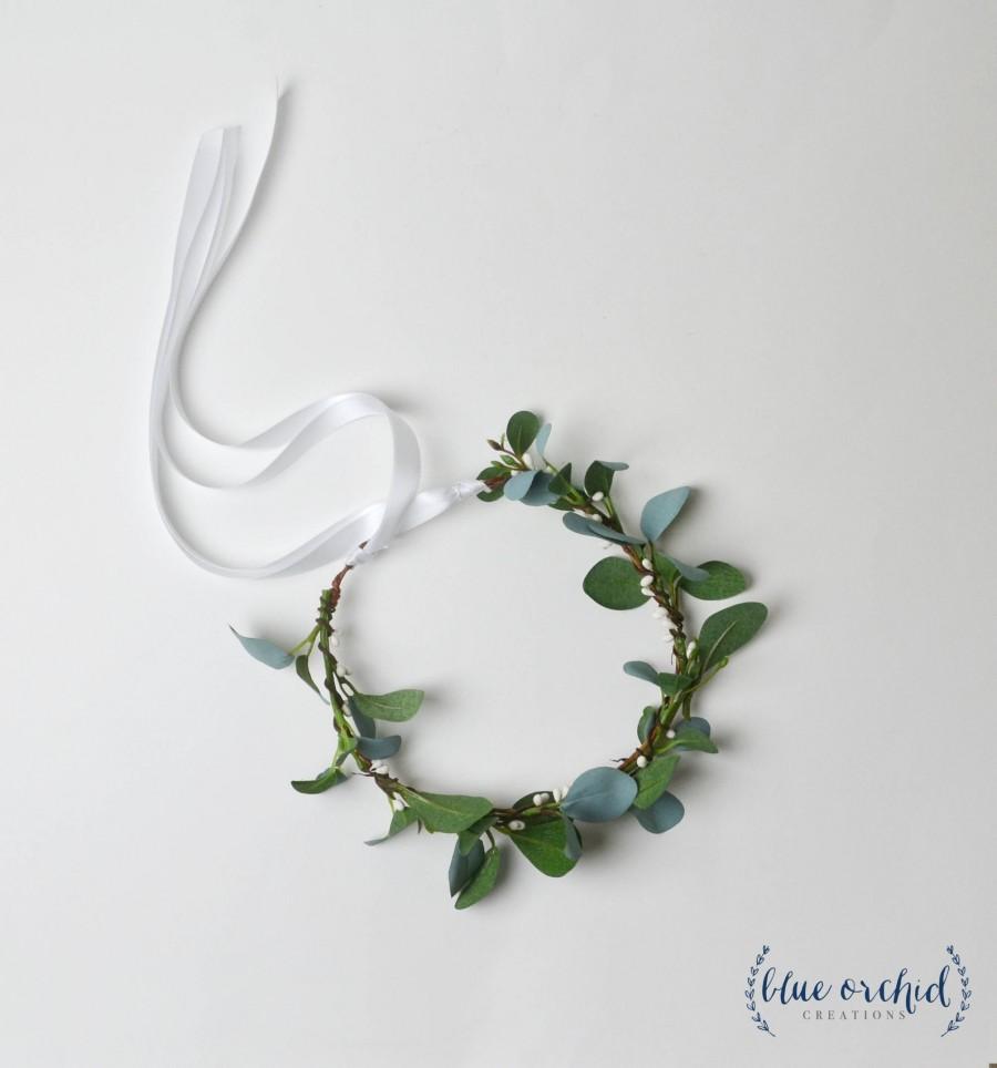 Wedding - Flower Crown, Boho Wedding, Green Flower Crown, Greenery, Floral Crown, Flower Girl Crown, Eucalyptus, Greenery Crown, Eucalyptus Crown