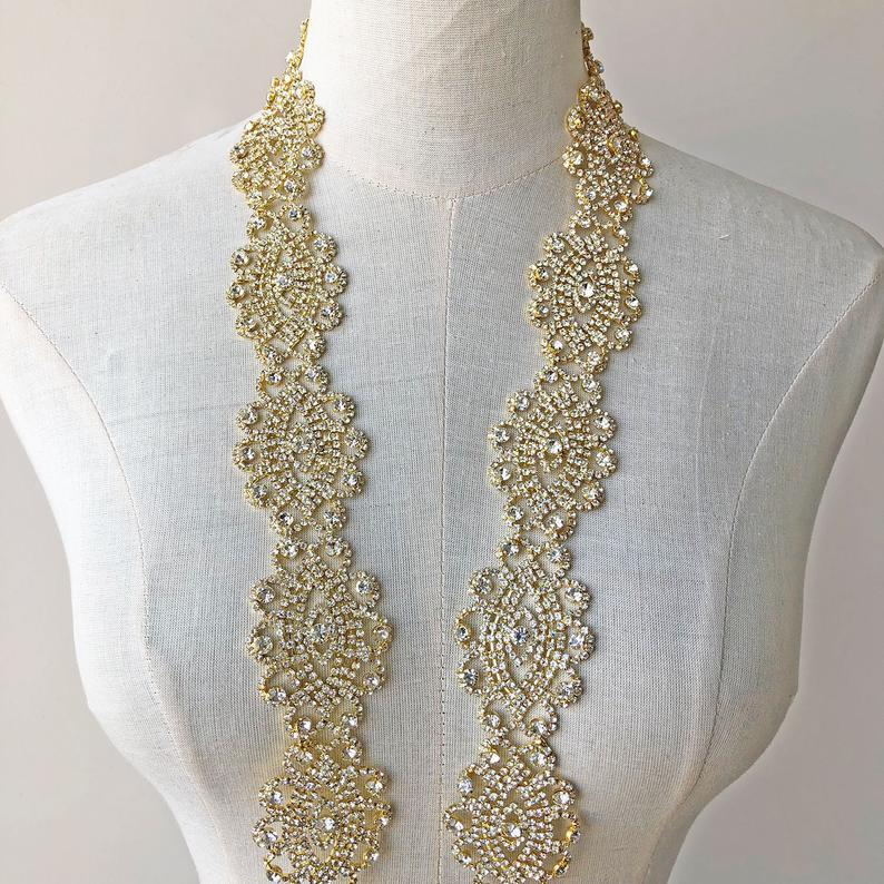 زفاف - Gold Rhinestones Applique Crystal Diamante Sash Belt Trimming Bling Accents for Wedding Dresses,Party Dress
