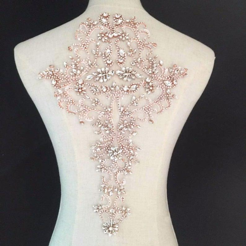 Mariage - Wedding Dress Appliques Clear Rhinestone Back Sewing Applique for Bridal Dresses Party Bodices