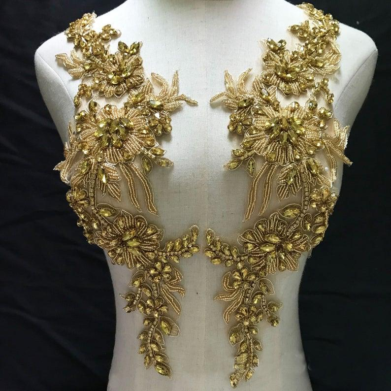 زفاف - Heavily Gold Rhinestone Applique Golden Crystal Beaded Patches Sparkling Accents for Party Costumes Prom Gown