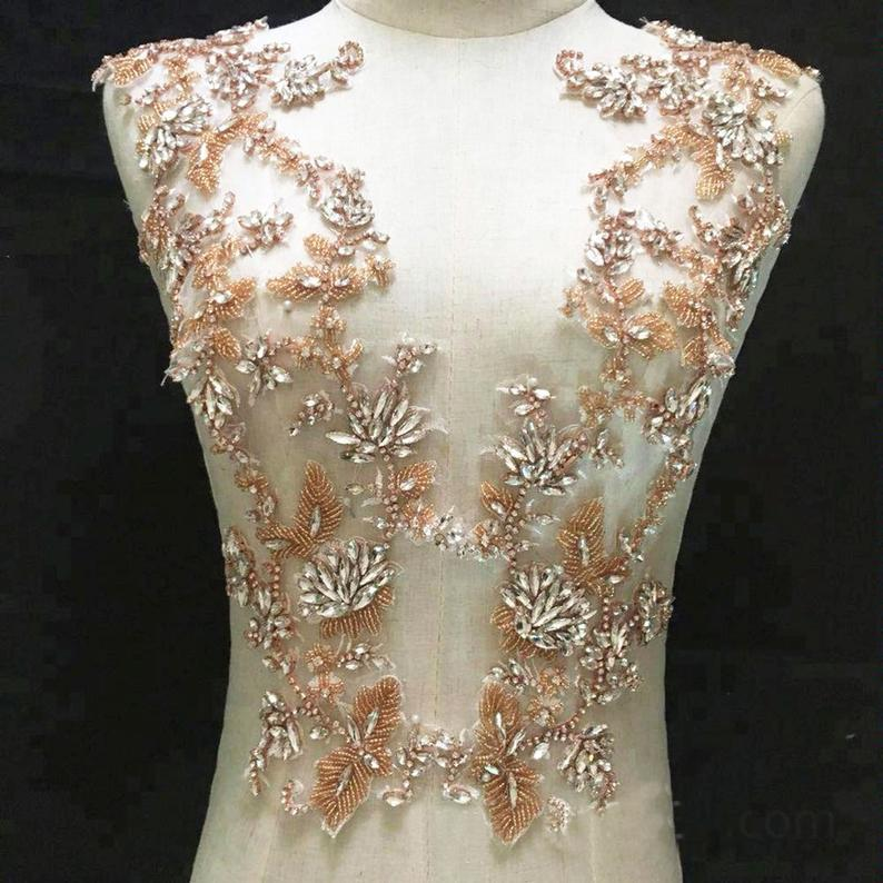 Свадьба - Rose Gold Bridal Rhinestone Applique Stitch Crystal Patch Bling Bodice Accents for Wedding Dresses Evening Gown