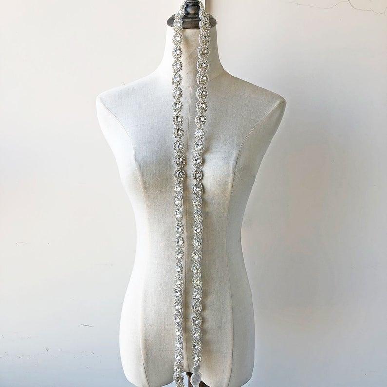 زفاف - Round Crystal Sash Applique Hot Fixed Rhinestone trims for Bridal Dress Belt Bling Wedding Accessories