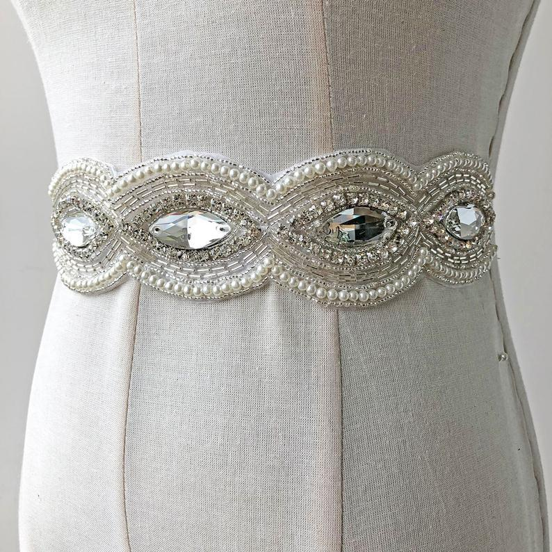 Mariage - Bling Chunky Rhinestone Belt Applique, Hot Glued Crystal Beaded Trims,Sparkling Accent for Wedding Dress Belt Prom Sash Belt