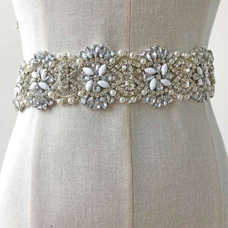 زفاف - Hot Glued Bridal Sash Rhinestone Appliques,Beaded Crystal Satin Belt Trimming, Sparkling Wedding Accessories for Dress
