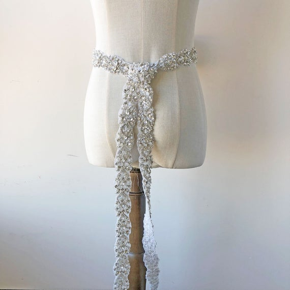 Mariage - Length Custom Wedding Belts Rhinestone Applique Crystal Trimming with Pearl Beads Details for Bridal Sashes Belt Embellished Prom Dresses