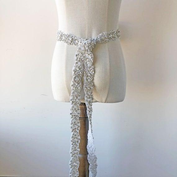 زفاف - Length Custom Wedding Belts Rhinestone Applique Crystal Trimming with Pearl Beads Details for Bridal Sashes Belt Embellished Prom Dresses