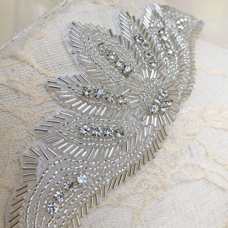 زفاف - Hot Fixed Crystal Applique Beaded Patch for Dance Costumes, Bridal Dress Shoulder Straps ,Craft Projects