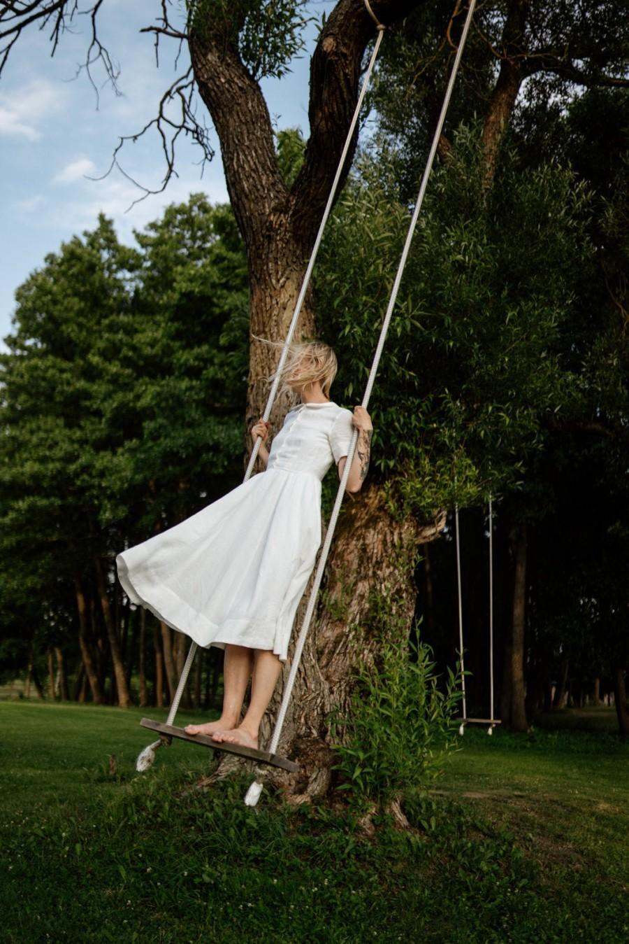 Mariage - White Linen Dress For Women, Linen Clothing, Peter Pan Collar Dress, Woodland Clothing, Simple Linen Dress, Holiday Dress  / Classic SS