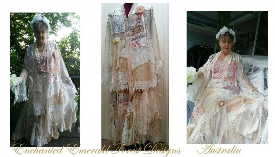 زفاف - Stevie Nicks Style Boho Fairytale Wedding Peach Pink Ivory Lace Patchwork Shabby Chic Coat & Skirt - Plus Size Wedding Dress Custom Made