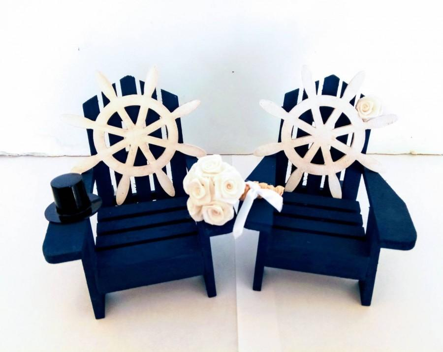 Mariage - Navy blue Adirondack chair Cake Toppers-Ships Wheel Cake Topper-marine wedding cake topper-Navy Wedding cake topper-Navy Wedding cake topper