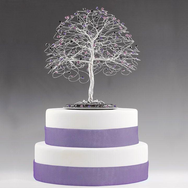زفاف - Tree Cake Topper with Swarovski Crystal Elements Purple Velvet, Amethyst, Jet Black on Silver tone Wire Decor Wedding Cake Topper Gothic