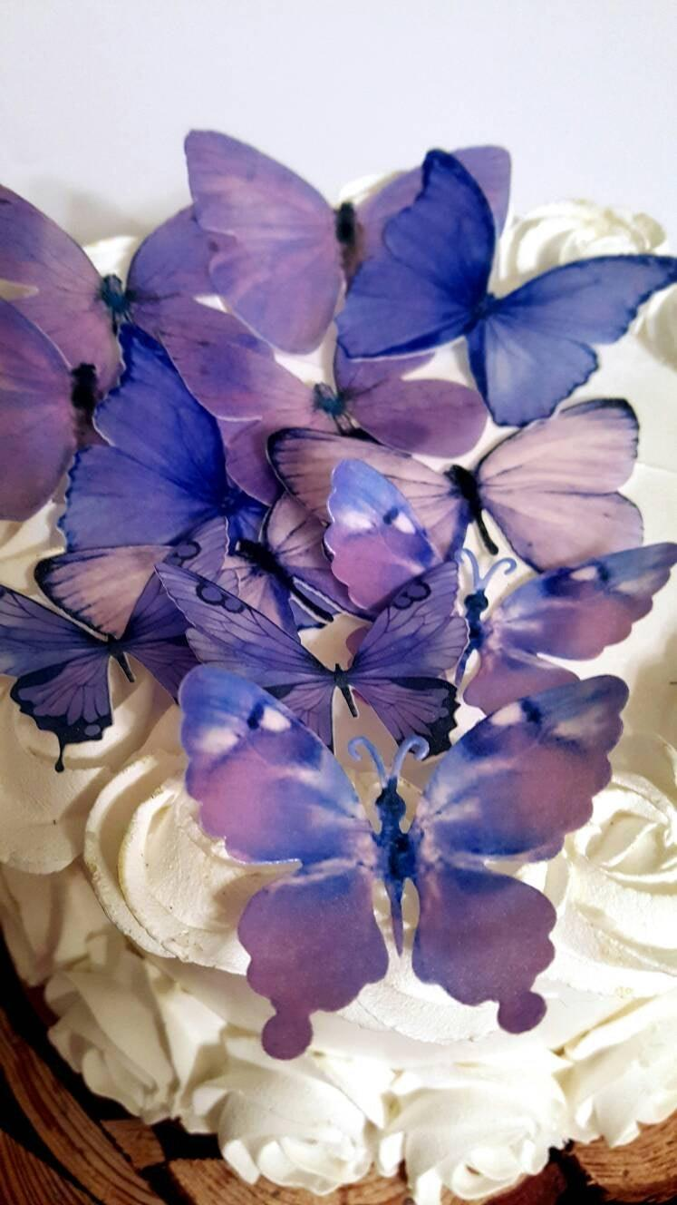 Свадьба - 12 Edible Pastel Lilac Butterfly Edible Cake / Cupcake Toppers,by SugarButterflies©