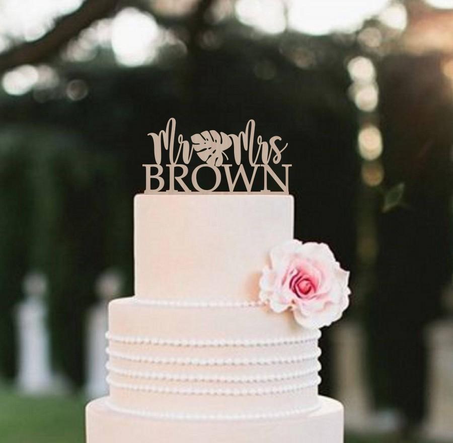 زفاف - Wedding Cake Topper Mr and Mrs Custom Wood Cake topper  Monstera leaf Topper Palm Leaves Cake topper Tropical Wedding Cake Topper