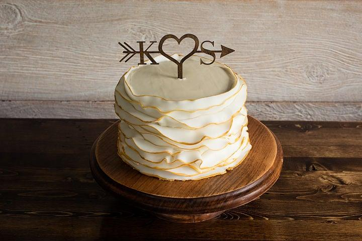 Mariage - Arrow Wood Wedding Cake Topper