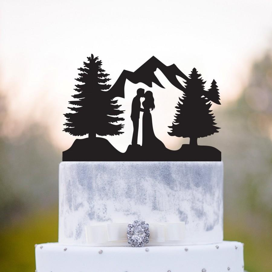 Mariage - Outdoor wedding cake topper,forest wedding cake topper,Mountain wedding cake topper,forest theme cake topper,kissing wedding cake topper,a71