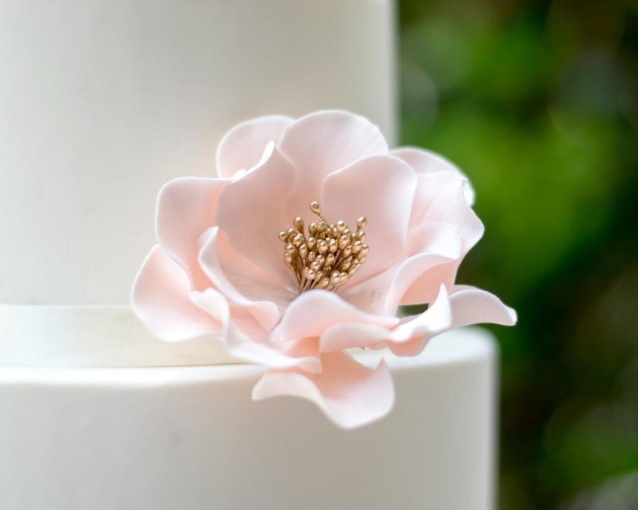 Wedding - Blush and Gold Open Rose Sugar Flower READY TO SHIP for gumpaste cake decoration and unique wedding cake toppers
