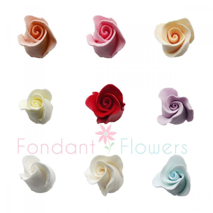 Wedding - 10 Gumpaste Roses Buds Flower Blossoms Sugar Cake Cupcake Topper Rosebud