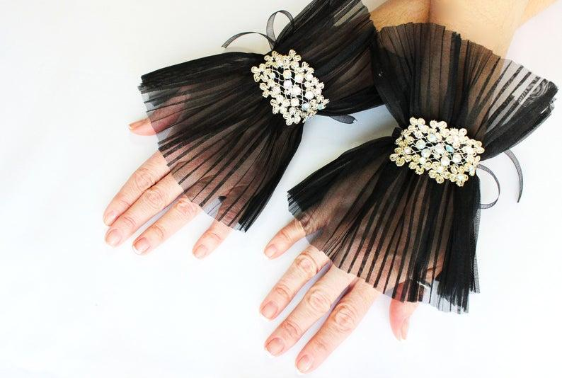 Wedding - Black Ruffled Cuffs, Gothic Gloves, Wrist Cuff, Embroidery Gloves, Detachable glitter cuff, Gift her, Unique Christmas Gifts, Ready to ship