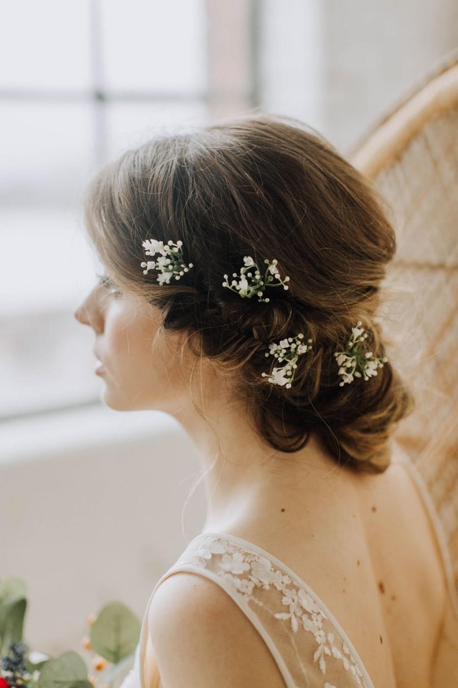 زفاف - Eucalyptus Hair Pin Set, gypsophila pins, gyp hair vine, ivory Bobby Pin Set, ivory Bridal Hairpin Set, Bobby Pins for Braids